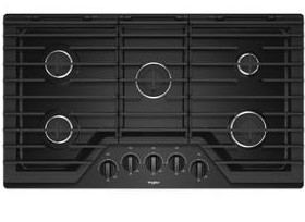 """WCG55US6HB Whirlpool 36"""" Sealed 5 Burner Gas Cooktop with EZ 2 Lift Hinged Cast Iron Grates and Upswept SpillGuard Cooktop - Black"""