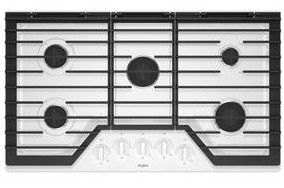 """WCG55US6HW Whirlpool 36"""" Sealed 5 Burner Gas Cooktop with EZ 2 Lift Hinged Cast Iron Grates and Upswept SpillGuard Cooktop - White"""