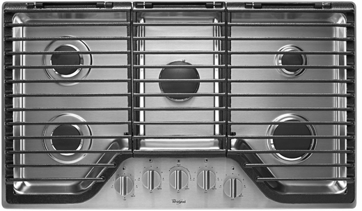"""WCG97US6DS Whirlpool 36"""" 5-Burner Gas Cooktop with EZ-2-Lift Hinged Cast-Iron Grates - Stainless Steel"""