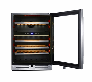 """WCSE47R3S Avanti 24"""" Single Zone ELITE Series Wine Chiller with Soft Touch Control and Blue LED Electronic Display - Stainless Steel"""