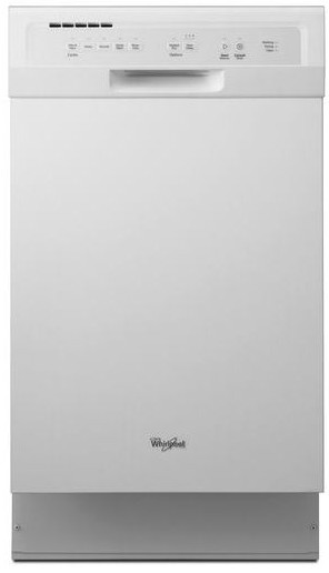 "WDF518SAFW Whirlpool 18"" Compact Tall Tub Dishwasher with Stainless Steel Interior - White"