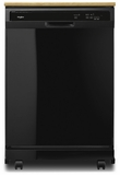 "WDP370PAHB Whirlpool 24"" Heavy Duty Dishwasher with 1 Hour Wash Cycle and Soil Sensor - Black"