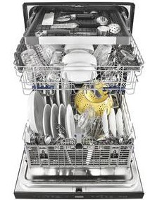 """WDT975SAHZ Whirlpool 24"""" Built-In Undercounter Dishwasher with Sani Rinse Option and Third Level Rack - Stainless Steel"""