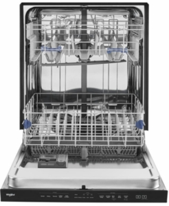 "WDTA50SAHB Whirlpool 24"" Built In Fully Integrated Dishwasher with 5 Wash Cycles and Heated Dry Option - Black"