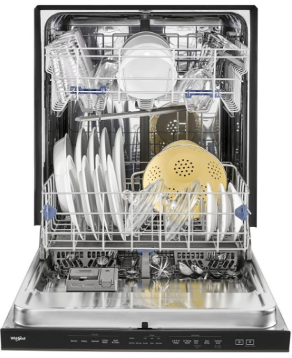 """WDTA50SAHV Whirlpool 24"""" Built In Fully Integrated Dishwasher with 5 Wash Cycles and Heated Dry Option - Black Stainless Steel"""