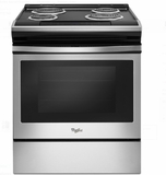"""WEC310S0FS 30"""" Whirlpool 4.6 cu. ft. Slide-In Electric Range with Sabbath Mode - Stainless Steel"""