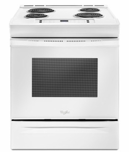"""WEC310S0FW 30"""" Whirlpool 4.6 cu. ft. Slide-In Electric Range with Sabbath Mode - White"""