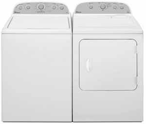 """WED4985EW Whirlpool 29"""" 5.9 cu. ft. Top Load Electric Dryer with Flat Back Design - White"""