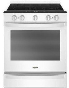 "WEE750H0HW Whirlpool 30"" Smart Slide-In Electric Range with Frozen Bake Technology and True Convection Cooking - White"