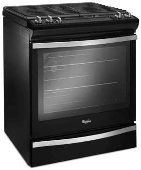 "WEG745H0FE Whirlpool 30"" Slide-In Gas Range with 5 Sealed Burners, 5.8 cu. ft. Capacity and True Convection Cooking - Black Ice"