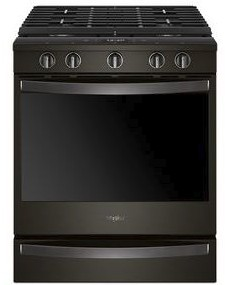"WEG750H0HV Whirlpool 30"" Smart Slide-In Gas Range with Frozen Bake Technology and True Convection Cooking - Fingerprint Resistant Black Stainless Steel"