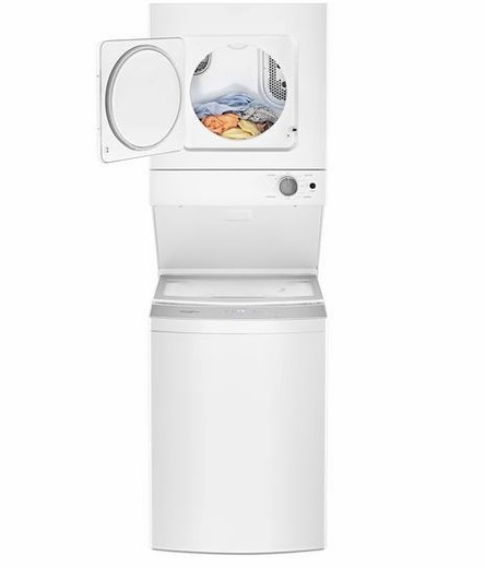 "WET4024HW Whirlpool 24"" Stacked Laundry Center Washer + Electric Dryer with EasyView Glass Lid - White"