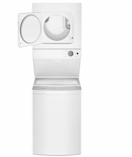 "WET4024HW Whirlpool 24"" Electric Stacked Washer and Laundry Center with EasyView Glass Lid and AutoDry Drying System - White"