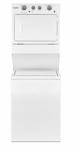 "WET4027HW Whirlpool 27"" Stacked Laundry Center Washer + Electric Dryer - White"