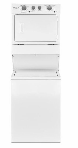 "WET4027HW Whirlpool 27"" 3.5 Cu. Ft. Electric Stacked Washer and Laundry Center with Dual Action Agitator and AutoDry Drying System - White"