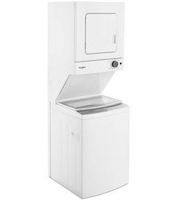 "WET4124HW Whirlpool 24"" Stacked Laundry Center Washer + Electric Dryer - White"