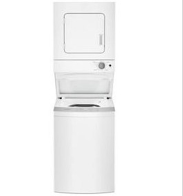 """WET4124HW Whirlpool 24"""" Electric Stacked Washer and Laundry Center with EasyView Glass Lid and AutoDry Drying System - White"""