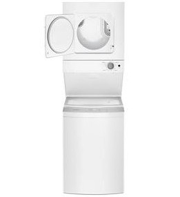 """WET4124HW Whirlpool 24"""" Stacked Laundry Center Washer + Electric Dryer - White"""