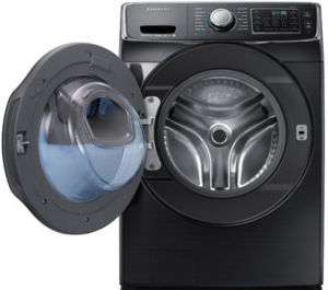 """WF45K6500AV Samsung 27"""" 4.5 Cu. Ft. High Efficiency Front Load Steam Washer with Vibration Reduction Technology - Black Stainless"""
