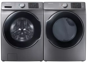 "WF45M5500AP Samsung 27"" 4.5 cu. ft. Front Load Washer with VRT Plus Technology and Steam Wash - Platinum"