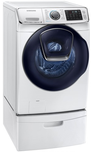 """WF50K7500AW Samsung 27"""" 5.0 cu. ft. Capacity Front-Load Washer with Super Speed, AddWash and  14 Preset Wash Cycles - White"""