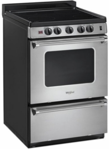 """WFE500M4HS Whirlpool 24"""" Freestanding Electric Range with Upswept SpillGuard Cooktop and Hot Oven Indicator Light - Stainless Steel"""