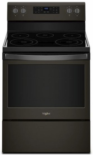 "WFE525S0HV Whirlpool 30"" 5.3 Cu. Ft. Freestanding Electric Range with Frozen Bake and FlexHeat - Black Stainless"