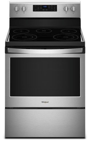 "WFE525S0HZ Whirlpool 30"" 5.3 Cu. Ft. Freestanding Electric Range with Frozen Bake and FlexHeat - Fingerprint Resistant Stainless Steel"