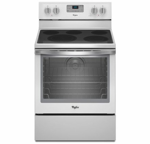 Wfe540h0eh Whirlpool 6 4 Cu Ft Freestanding Electric Range With Aqualift Self Cleaning Technology White Ice