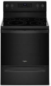 """WFE550S0HB Whirlpool 30"""" 5.3 Cu. Ft. Freestanding Electric Range with Self-Cleaning Mode and Fan Convection Cooking - Black"""