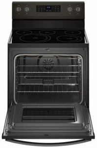 """WFE550S0HV Whirlpool 30"""" 5.3 Cu. Ft. Freestanding Electric Range with Self-Cleaning Mode and Fan Convection Cooking - Black Stainless Steel"""