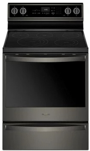 """WFE975H0HV Whirlpool 30"""" 6.4 Cu. Ft. Freestanding Electric Range with True Convection and Voice Control - Black Stainless Steel"""