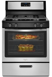 "WFG320M0BS Whirlpool 5.1 cu. ft. Freestanding 30"" Gas Range with Under-Oven Broiler - Stainless Steel"