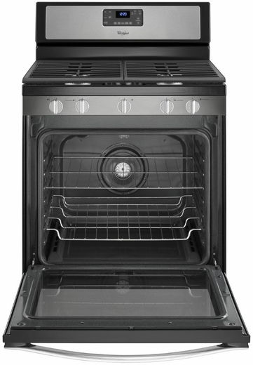 WFG540H0ES Whirlpool 5.8 Cu. Ft. Freestanding Counter Depth Gas Range with Center Burner - Black on Stainless