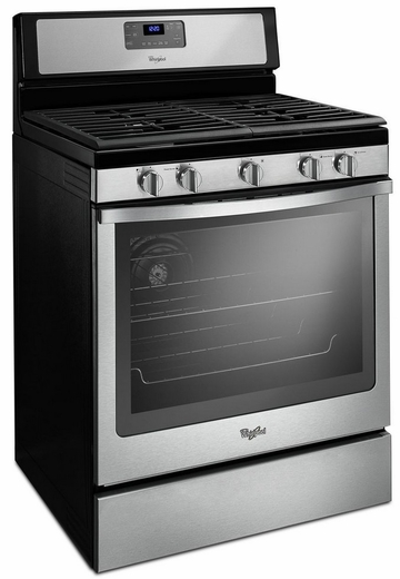 wfg540h0es whirlpool 58 cu ft counter depth gas range with center burner black on stainless