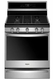 """WFG975H0HZ Whirlpool 30"""" 5.8 Cu. Ft. Freestanding Gas Range with True Convection and 5 Sealed Burners - Stainless Steel"""