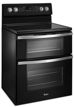 "WGE745C0FE Whirlpool 30"" Electric Range with Dual Ovens, 6.7 cu. ft. Oven Capacity and 5 Element Ceramic Glass Cooktop - Black Ice"