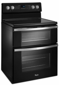 """WGE745C0FE Whirlpool 30"""" Electric Range with Dual Ovens, 6.7 cu. ft. Oven Capacity and 5 Element Ceramic Glass Cooktop - Black Ice"""