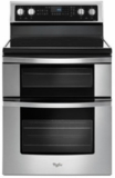 """WGE745C0FS Whirlpool 30"""" Electric Range with Dual Ovens, 6.7 cu. ft. Oven Capacity and 5 Element Ceramic Glass Cooktop - Stainless Steel"""
