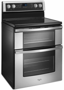 "WGE745C0FS Whirlpool 30"" Electric Range with Dual Ovens, 6.7 cu. ft. Oven Capacity and 5 Element Ceramic Glass Cooktop - Stainless Steel"