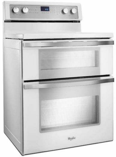 double oven electric range with true convection cooking white ice collection