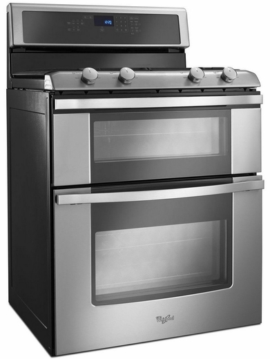 double oven gas range with accubake system stainless steel
