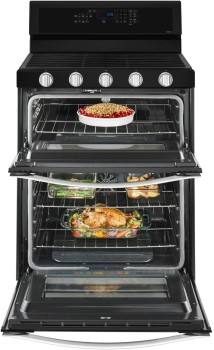 "WGG745S0FE Whirlpool 30"" Freestanding Gas Range with 5 Sealed Burners, Dual Ovens, 6 cu. ft. Capacity and  Frozen Bake Technology - Black Ice"
