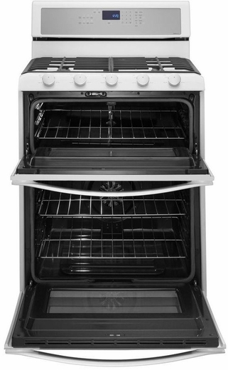 Wgg755s0bh Whirlpool 60 Total Cu Ft Double Oven Gas Range With