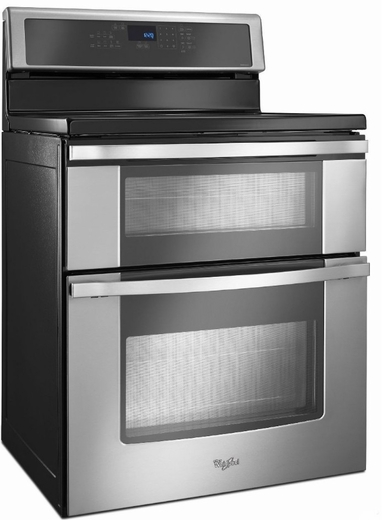 ft double oven electric range with induction cooktop stainless steel
