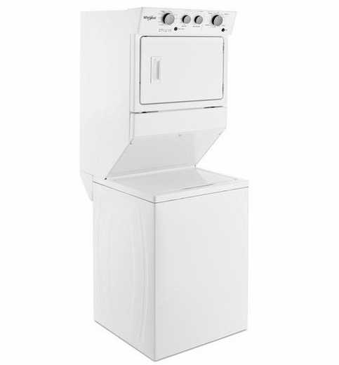 """WGT4027HW Whirlpool 27"""" Gas Stacked Washer and Laundry Center with Dual Action Agitator and AutoDry Drying System - White"""
