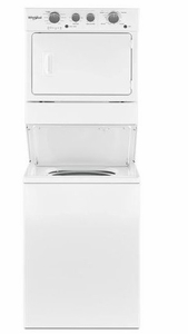 """WGTLV27HW Whirlpool 27"""" Long Vent Stacked Laundry Center Washer + Dryer with Dual Action Agitator and AutoDry Drying System - White"""