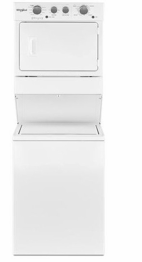 "WGTLV27HW Whirlpool 27"" Long Vent Stacked Laundry Center Washer + Dryer with Dual Action Agitator and AutoDry Drying System - White"