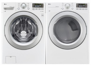 """WM3270CW LG 27"""" 4.5 cu. ft. Ultra Large Capacity Front Load Washer with 9 Wash Cycles and 4 tray Dispenser - White"""