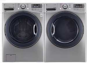 "WM3770HVA LG 27"" 4.5 cu. ft. Ultra Large Capacity Front Load Washer with Steam Options and TurboWash - Graphite Steel"